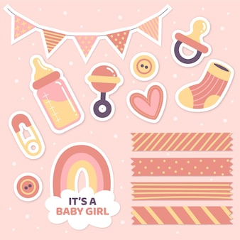 Baby shower girly plakboek set
