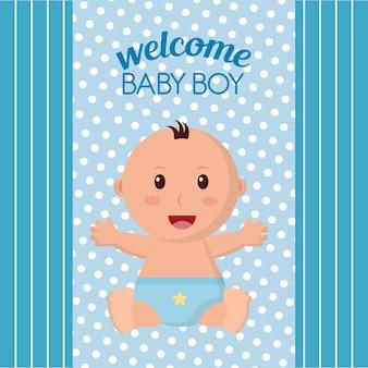 Baby shower glimlachende jongens witte en blauwe achtergrond