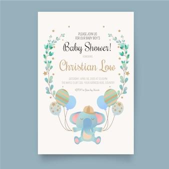 Baby shower jongen uitnodiging sjabloon