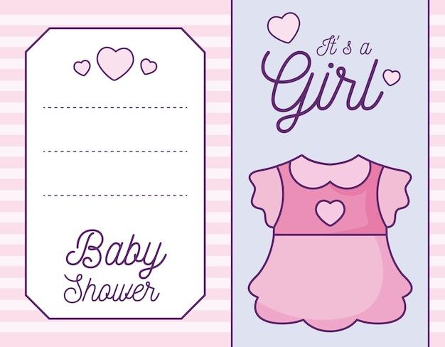Baby shower kaart het is een meisje met kleding