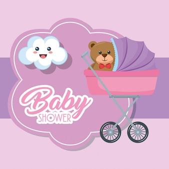 Baby shower kaart met beer teddy in kar