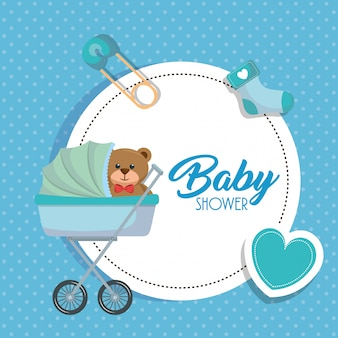 Baby shower kaart met beer teddy in kar