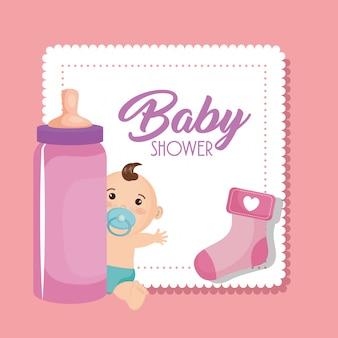 Baby shower kaart met kleine jongen