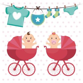 Baby shower kaart met kleine kinderen