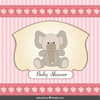Baby shower kaart met olifant en gestreepte achtergrond