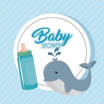 Baby shower kaart met schattige walvis