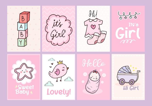 Baby shower kaart poster met roze en schattig pasgeboren meisje