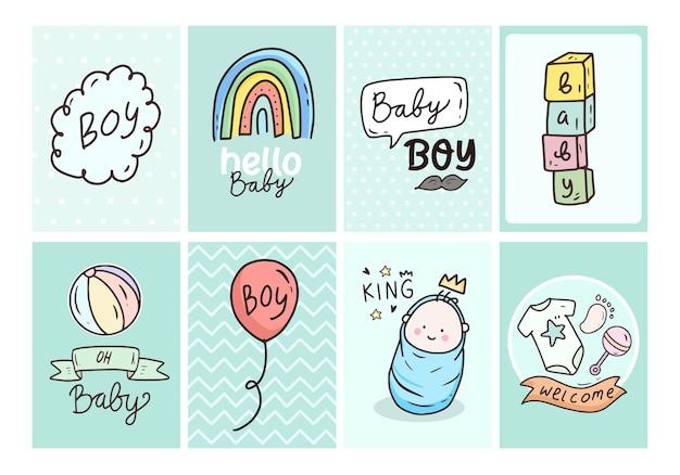 Baby shower kaart poster met schattige pasgeboren jongen
