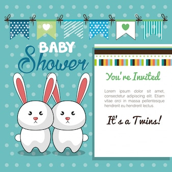 Baby shower kaart tweeling konijn ontwerp