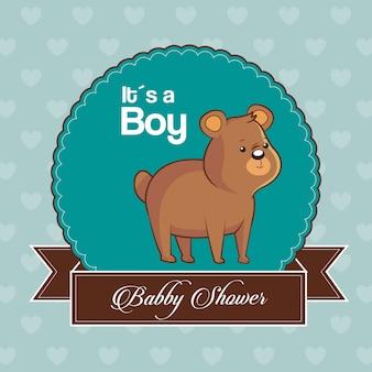 Baby shower kaart uitnodiging is een jongen met schattige beer