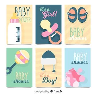 Baby shower kaarten collectie baby-elementen