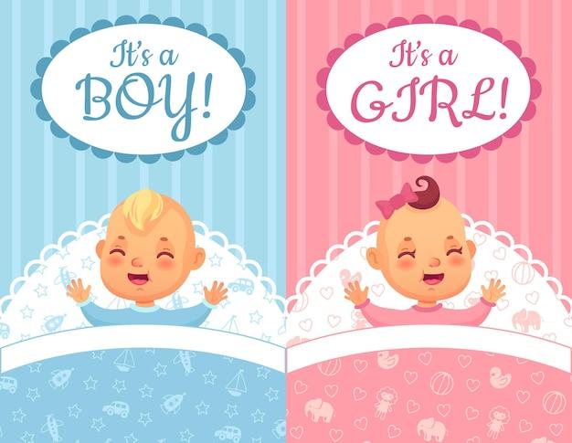 Baby shower kaarten. het is een jongen en meisje label, schattige baby cartoon illustratie set.
