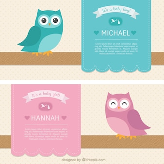 Baby shower kaarten voor jongen en meisje