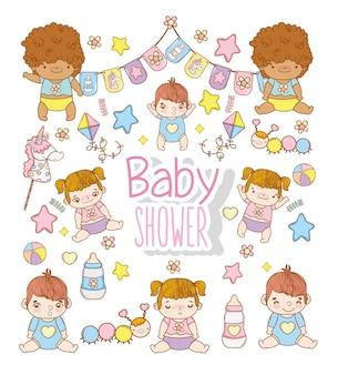 Baby shower kinderen met speelgoed decoratie