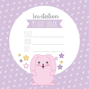 Baby shower leuke roze konijn kawaii cartoon uitnodiging