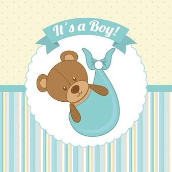 Baby shower ontwerp over gestippelde achtergrond vectorillustratie