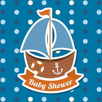 Baby shower ontwerp over gestippelde achtergrond