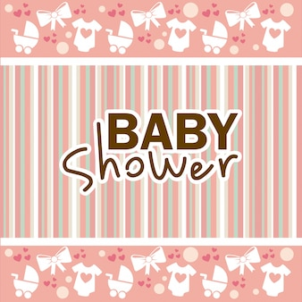 Baby shower ontwerp over lineal achtergrond