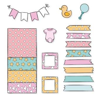 Baby shower plakboek elementen pack