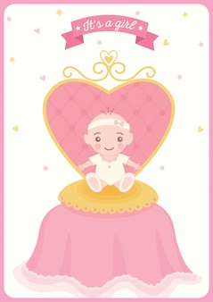 Baby shower prinses gril stoel
