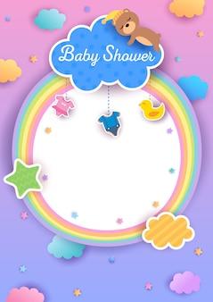 Baby shower regenboog frame