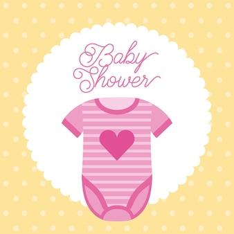 Baby shower roze kleding hart decoratie uitnodiging