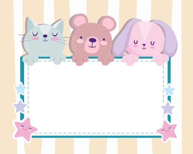 Baby shower schattige beer konijn en kat uitnodigingskaart vectorillustratie