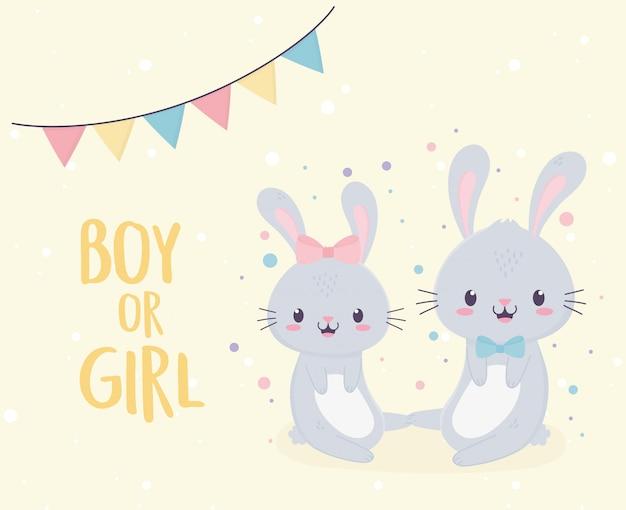 Baby shower schattige jongen of meisje konijntjes verwelkomen pasgeboren kaart