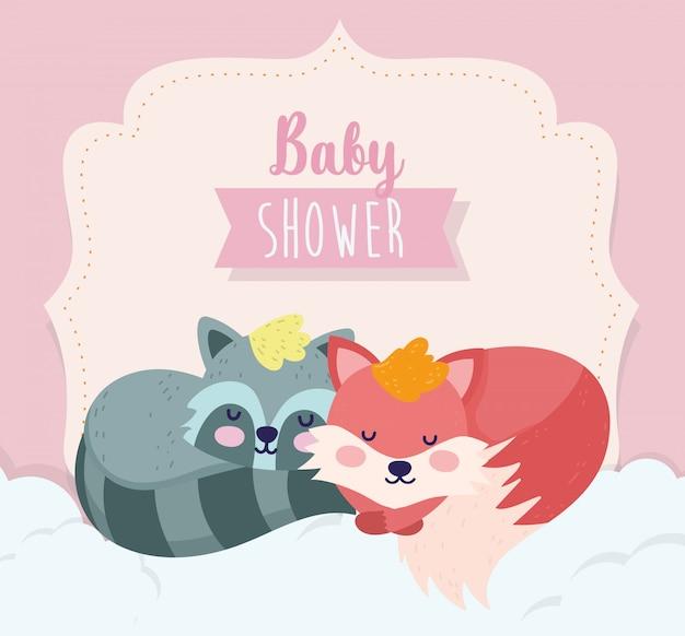 Baby shower schattige vos en wasbeer slapende cartoon