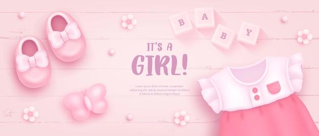 Baby shower sjabloon voor meisje