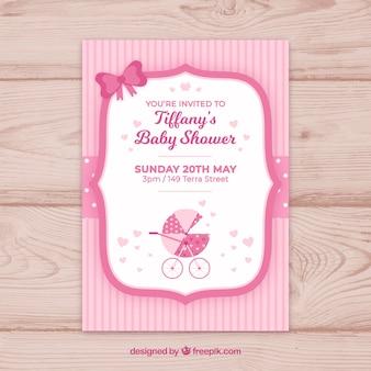 Baby shower uitnodiging in vlakke stijl