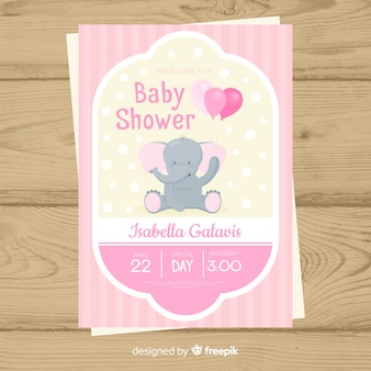 Baby shower uitnodiging kaartsjabloon