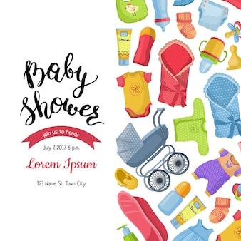 Baby shower uitnodiging met belettering en baby accessoires