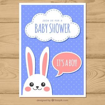 Baby shower uitnodiging met bunnie in vlakke stijl