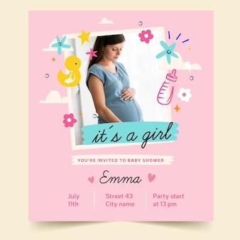 Baby shower uitnodiging met foto (meisje)