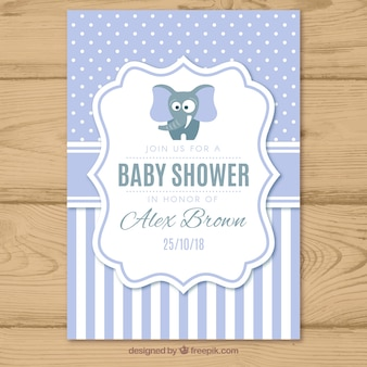 Baby shower uitnodiging met patroon in vlakke stijl
