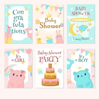 Baby shower uitnodiging set