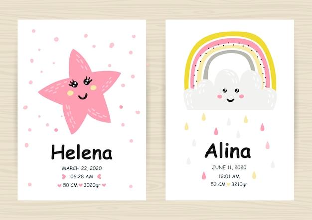 Baby shower uitnodiging sjablonen met regenbogen
