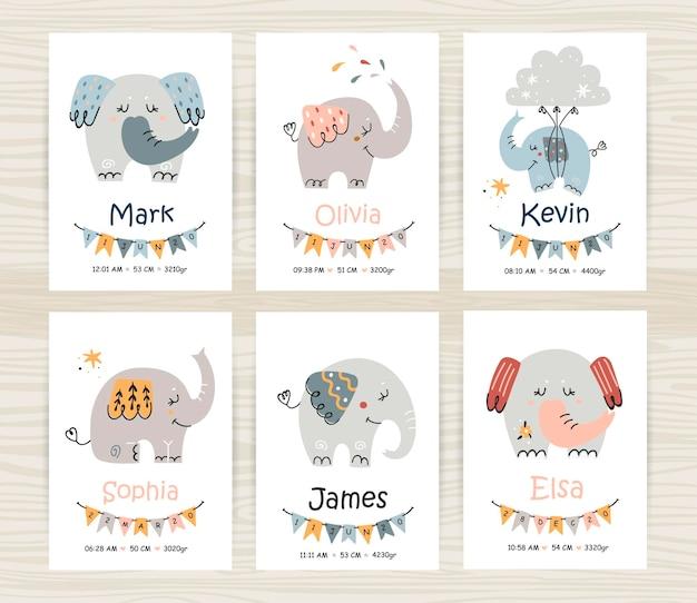 Baby shower uitnodiging sjablonen met schattige olifanten voor meisje en jongen.
