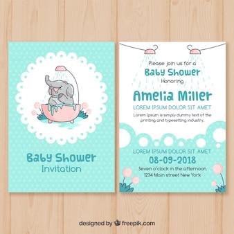 Baby shower uitnodiging sjabloon in platte ontwerp