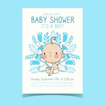 Baby shower uitnodiging sjabloon met babyjongen
