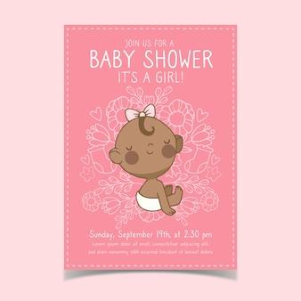 Baby shower uitnodiging sjabloon met babymeisje