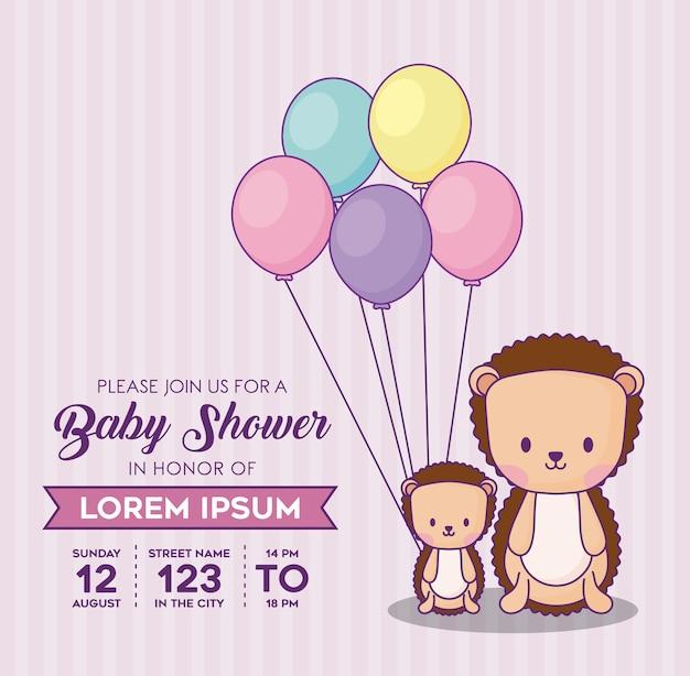 Baby shower uitnodiging sjabloon met decoratieve wimpels en schattige stekelvarkens met ballonnen over roze