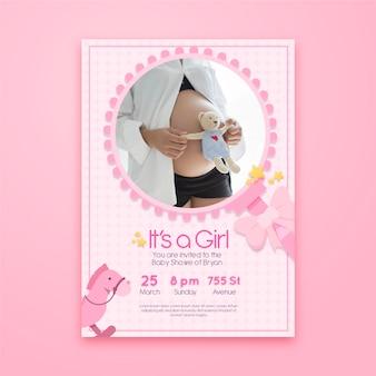 Baby shower uitnodiging sjabloon met foto