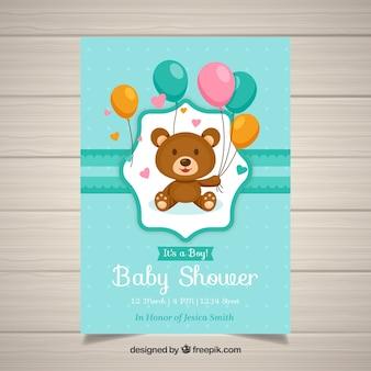 Baby shower uitnodiging sjabloon met teddy