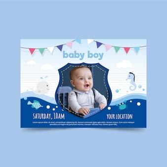 Baby shower uitnodiging sjabloon voor jongen ontwerp