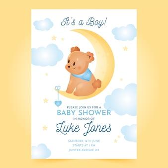 Baby shower uitnodiging sjabloon voor jongen