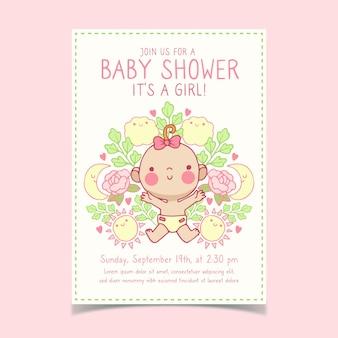 Baby shower uitnodiging sjabloon voor meisje