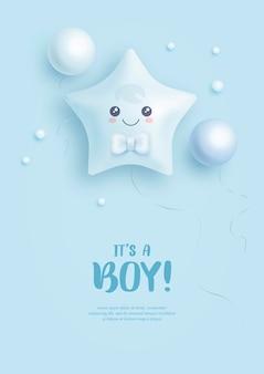 Baby shower uitnodiging voor babyjongen