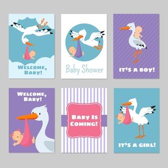 Baby shower uitnodigingen vector kaarten met ooievaar en baby